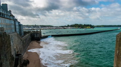 Saint Malo - City walls and beach time lapse Stock Footage