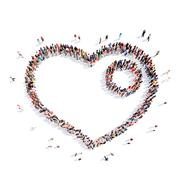people in the shape of heart - stock illustration