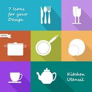 Seven icons of kitchen utensil - stock illustration