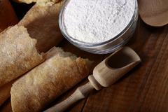 White bread flour and appliances Stock Photos
