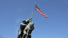 Iwo Jima Memorial Marine Corp flag close Washington DC 4K 037 Stock Footage