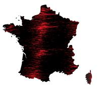 Stock Illustration of Black and red scribble stylized map of France. Raster version