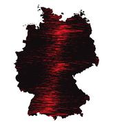 Black and red scribble stylized map of Germany. Raster version - stock illustration