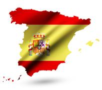 Stock Illustration of Spain vector contour map with Spain flag and emblem. Raster version