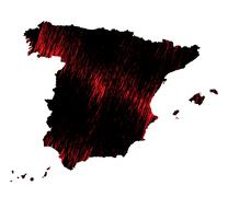 Stock Illustration of Black and red scribble stylized map of Spain. Raster version