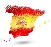 Scribble stylized map of Spain with well detailed Spain emblem(coat of arms). - stock illustration