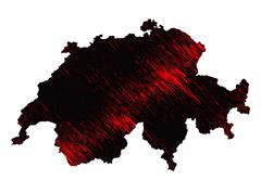 Black and red scribble stylized map of Switzerland. Raster version - stock illustration