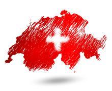 Scribble stylized map of Switzerland. Raster version Stock Illustration