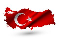 Stock Illustration of Turkey contour map with country flag. Raster version