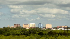 Sparse Downtown City Skyline Wichita Falls Texas Clouds Passing Stock Footage