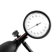 Studio shot of the detail of a sphygmomanometer - stock photo