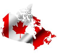Canada contour map with Canada waving flag. Raster version Stock Illustration