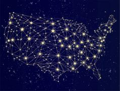 Glowing USA map on the starry sky Stock Illustration