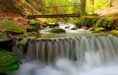 Nice waterfall on mountain river Stock Photos