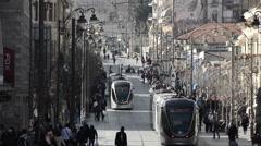 Jerusalem trams, Jaffa street long shot, Israel Stock Footage