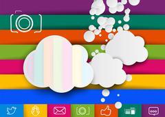 Storage pictures cloud design template. Raster version Stock Illustration