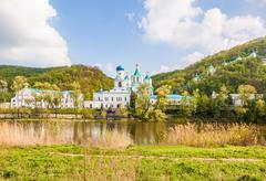 Svyatogorsk monastery landscape in the woods Stock Photos
