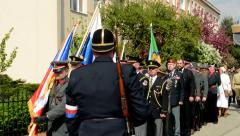 Stock Video Footage of commemorate victims of World War II at cemetery - official march of soldiers