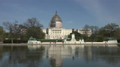 Washington DC US Capital Building across water pool 4K fast 042 Stock Footage