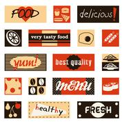 vintage food pictures and titles - stock illustration