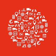 logistic icons in circle - stock illustration