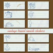 vintage travel smash stickers - stock illustration