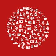 holiday and events icons in circle - stock illustration