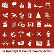 holidays and events icons - stock illustration