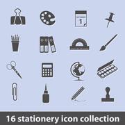 Stationery icons Stock Illustration