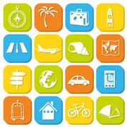 travel icons in squares - stock illustration
