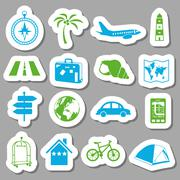 travel stickers - stock illustration