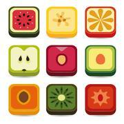fruit application icons - stock illustration