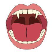 vampire mouth - stock illustration