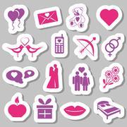 Valentine stickers Stock Illustration