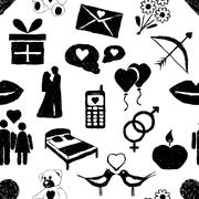 Doodle valentine seamless pattern Stock Illustration