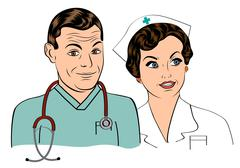 Doctor and nurse Piirros