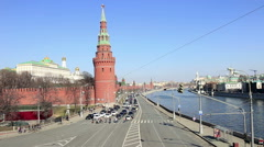 Pedestrians cross the Kremlin Embankment Stock Footage