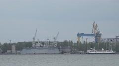 Plant Panarama horizon river shipbuilding factory houses Stock Footage