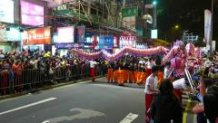Chinese Dragon costume show, team performance at New Year celebration Stock Footage
