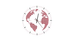Clock counting down 12 hours over 30 seconds. Time lapse. Globe inside - stock footage