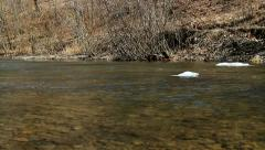 Wild river, floating ice floe. Stock Footage