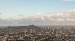 Stock Video Footage of Long zoom out of sunset at Diamond head and Waikiki beach, Hawaii