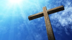 Calvary cross of christ and blue sky. Easter background - stock footage
