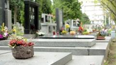 Cemetery - gravestones (flowers) Stock Footage