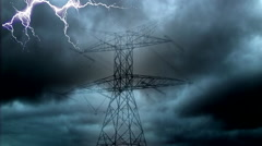 Lightning striking the electricity tower Stock Footage