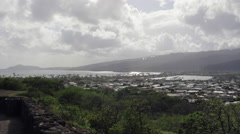Looking over town on the East side of Oahu from a scenic overlook Stock Footage