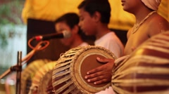 Indian boys practice mrdanga traditional drum still shot central focus Stock Footage