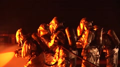 Aircraft Rescue Fire Fighters Tackle Aircraft  Night Fire - stock footage