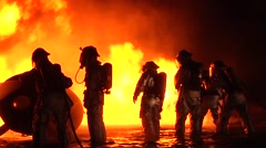 Stock Video Footage of Aircraft Rescue Fire Fighters Tackle Aircraft  Night Fire