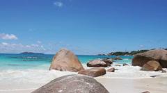 famous tropical beach anse lazio on seychelles island pralin - stock footage